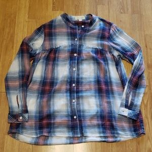 Cloth & Stone raw edge collarless plaid shirt